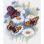 """Канва/ткань с нанесенным рисунком Матрёнин посад """"Бабочки и ромашки"""""""