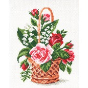 """Канва/ткань с нанесенным рисунком Матрёнин посад """"Цветы в корзинке"""""""