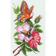 """Канва/ткань с нанесенным рисунком Матрёнин посад """"Бабочки и цветы"""""""