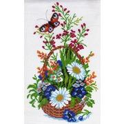 """Канва/ткань с нанесенным рисунком Матрёнин посад """"Корзинка цветов"""""""