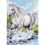 "Канва/ткань с нанесенным рисунком Матрёнин посад ""Белая лошадь"""