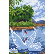 """Канва/ткань с нанесенным рисунком Матрёнин посад """"Два лебедя"""""""