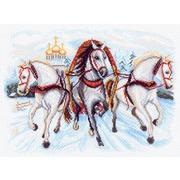 """Канва/ткань с нанесенным рисунком Матрёнин посад """"Тройка лошадей"""""""