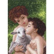"""Канва/ткань с нанесенным рисунком Матрёнин посад """"Дети и овечка"""""""