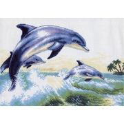 """Канва/ткань с нанесенным рисунком Матрёнин посад """"Дельфины"""""""