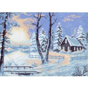 """Канва/ткань с нанесенным рисунком Матрёнин посад """"Замерзший домик"""""""
