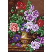 "Канва/ткань с нанесенным рисунком Матрёнин посад ""Цветы в вазе"""