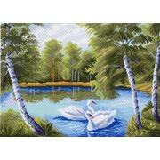 """Канва/ткань с нанесенным рисунком Матрёнин посад """"Лебеди в пруду"""""""