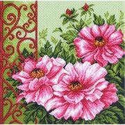 """Канва/ткань с нанесенным рисунком Матрёнин посад """"Пионы в саду"""""""
