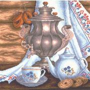 """Канва/ткань с нанесенным рисунком Матрёнин посад """"Натюрморт с самоваром"""""""
