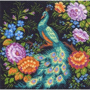 """Канва/ткань с нанесенным рисунком Матрёнин посад """"Павлин в цветах"""""""