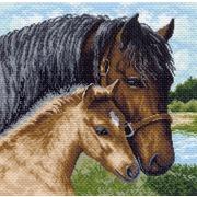 """Канва/ткань с нанесенным рисунком Матрёнин посад """"Лошадь с жеребенком"""""""
