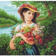 """Канва/ткань с нанесенным рисунком Матрёнин посад """"Девушка с букетом"""""""