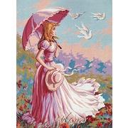 """Канва/ткань с нанесенным рисунком Gobelin-L """"Девушка с зонтиком"""""""