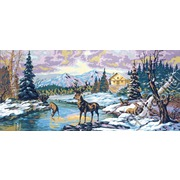 "Канва/ткань с нанесенным рисунком Gobelin-L ""Олени на реке зимой"""