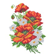 """Канва/ткань с нанесенным рисунком Матрёнин посад """"Букет из маков и ромашек"""""""