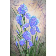 """Канва/ткань с нанесенным рисунком Матрёнин посад """"Синие ирисы"""""""