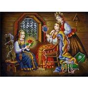 """Канва/ткань с нанесенным рисунком Конёк """"Три девицы"""""""