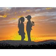 """Канва/ткань с нанесенным рисунком Глурия (Астрея) """"Первая любовь"""""""