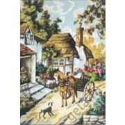 """Канва/ткань с нанесенным рисунком Gobelin-L """"Деревенская улочка"""""""