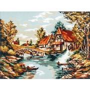 "Канва/ткань с нанесенным рисунком Gobelin-L ""Мельница у реки"""
