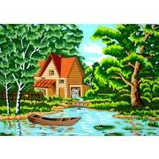 """Канва/ткань с нанесенным рисунком Gobelin-L """"В лесу у мельницы"""""""
