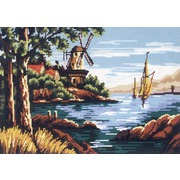 "Канва/ткань с нанесенным рисунком Gobelin-L ""Мельница на реке"""