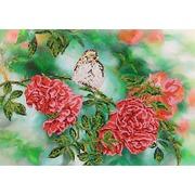 """Канва/ткань с нанесенным рисунком Глурия (Астрея) """"На ветке розы"""""""