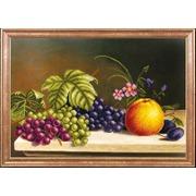 """Канва/ткань с нанесенным рисунком Магия канвы """"Яблоко с виноградом"""""""