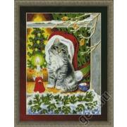 """Набор для вышивания крестом Kustom Krafts Inc. """"Рождественский котёнок"""""""