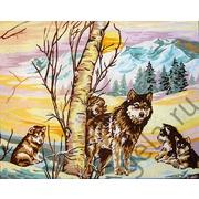"Канва/ткань с нанесенным рисунком Gobelin-L ""Волчата зимой"""