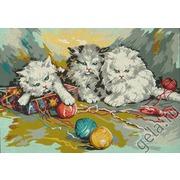 """Канва/ткань с нанесенным рисунком Gobelin-L """"Три котенка"""""""