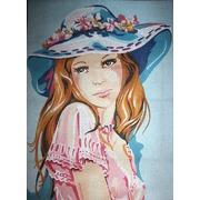 """Канва/ткань с нанесенным рисунком Diamant """"Девушка в голубой шляпке"""""""