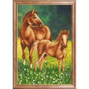 """Канва/ткань с нанесенным рисунком Магия канвы """"Лошадь с жеребенком"""""""