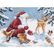 "Канва/ткань с нанесенным рисунком Матрёнин посад ""Дед Мороз в лесу"""