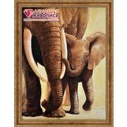"""Набор для выкладывания мозаики Алмазная живопись """"Слоненок с мамой"""""""