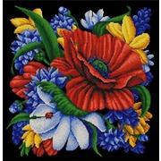 "Канва/ткань с нанесенным рисунком Конёк ""Цветы"""
