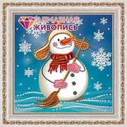 """Набор для выкладывания мозаики Алмазная живопись """"Снеговик с метлой"""""""