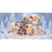 """Канва/ткань с нанесенным рисунком Конёк """"Рождественская елка"""""""