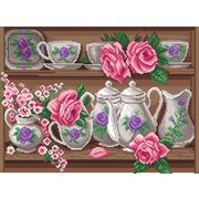 """Канва/ткань с нанесенным рисунком Матрёнин посад """"Розовый сервиз"""""""