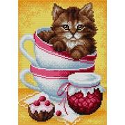 """Набор для выкладывания мозаики Вышиваем бисером """"Котенок в чашке"""""""