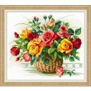 """Набор для вышивания крестом Риолис """"Корзина с розами"""""""