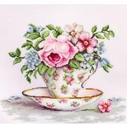 """Набор для вышивания крестом Luca-S """"Цветы в чайной чашке"""""""