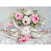 """Гобелен Luca-S """"Чайный сервиз и розы"""""""