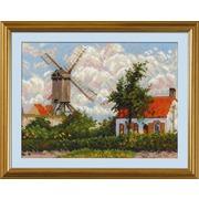 """Набор для вышивания крестом Риолис """"Ветряная мельница в Кноке (К. Писсарро)"""""""