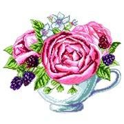 """Канва/ткань с нанесенным рисунком Матрёнин посад """"Ежевика в чашке"""""""