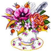 """Канва/ткань с нанесенным рисунком Матрёнин посад """"Шиповник в чашке"""""""