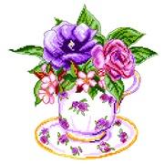 """Канва/ткань с нанесенным рисунком Матрёнин посад """"Роза в чашке"""""""