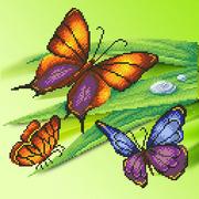 """Канва/ткань с нанесенным рисунком М.П. Студия """"Трио бабочек"""""""