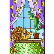 """Канва/ткань с нанесенным рисунком Матрёнин посад """"Витраж Хитрый кот"""""""